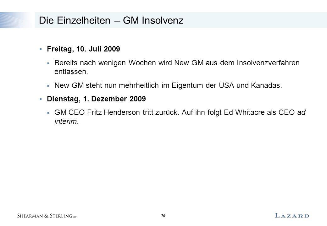 76 Die Einzelheiten – GM Insolvenz  Freitag, 10. Juli 2009  Bereits nach wenigen Wochen wird New GM aus dem Insolvenzverfahren entlassen.  New GM s