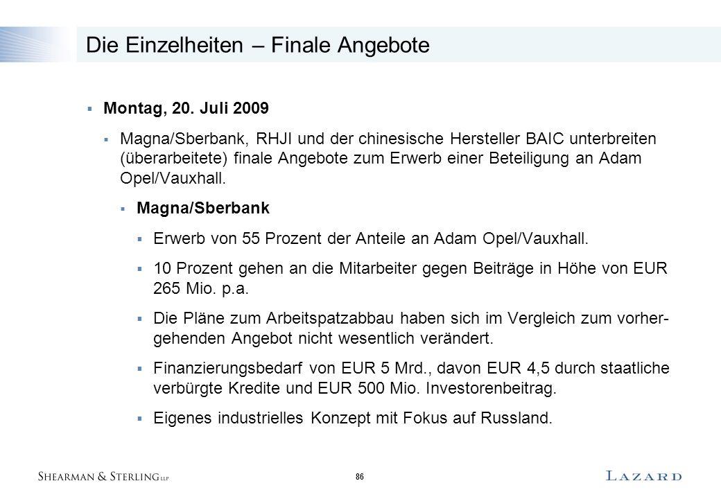 86 Die Einzelheiten – Finale Angebote  Montag, 20. Juli 2009  Magna/Sberbank, RHJI und der chinesische Hersteller BAIC unterbreiten (überarbeitete)