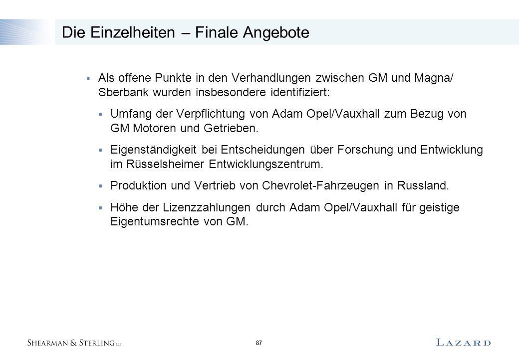 87 Die Einzelheiten – Finale Angebote  Als offene Punkte in den Verhandlungen zwischen GM und Magna/ Sberbank wurden insbesondere identifiziert:  Umfang der Verpflichtung von Adam Opel/Vauxhall zum Bezug von GM Motoren und Getrieben.