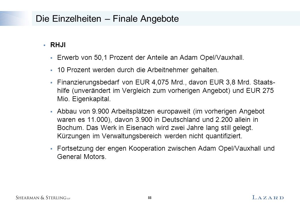 88 Die Einzelheiten – Finale Angebote  RHJI  Erwerb von 50,1 Prozent der Anteile an Adam Opel/Vauxhall.  10 Prozent werden durch die Arbeitnehmer g
