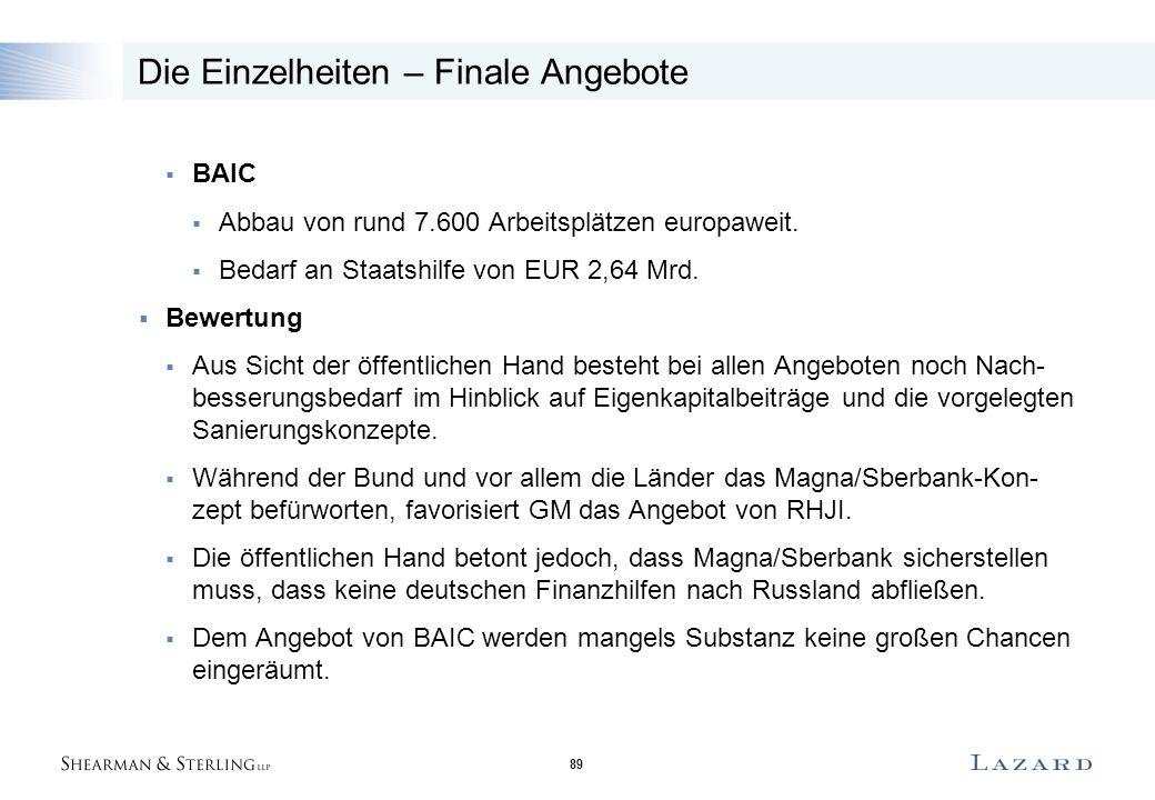 89 Die Einzelheiten – Finale Angebote  BAIC  Abbau von rund 7.600 Arbeitsplätzen europaweit.  Bedarf an Staatshilfe von EUR 2,64 Mrd.  Bewertung 