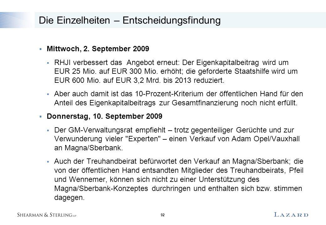 92 Die Einzelheiten – Entscheidungsfindung  Mittwoch, 2. September 2009  RHJI verbessert das Angebot erneut: Der Eigenkapitalbeitrag wird um EUR 25