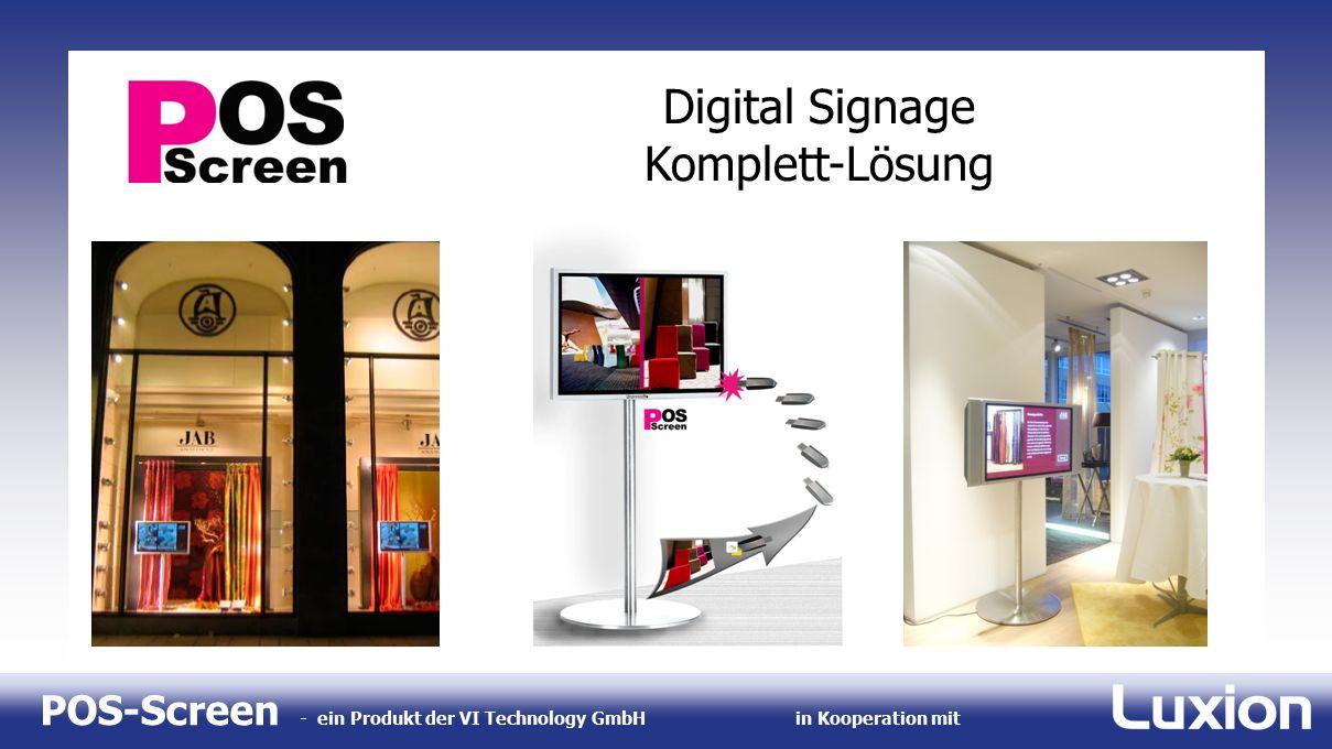 POS-Screen - ein Produkt der VI Technology GmbHin Kooperation mit Digital Signage Komplett-Lösung