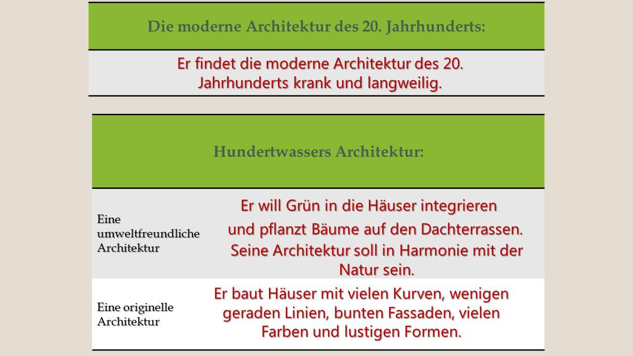 Die moderne Architektur des 20. Jahrhunderts: Er findet die moderne Architektur des 20. Jahrhunderts krank und langweilig. Hundertwassers Architektur: