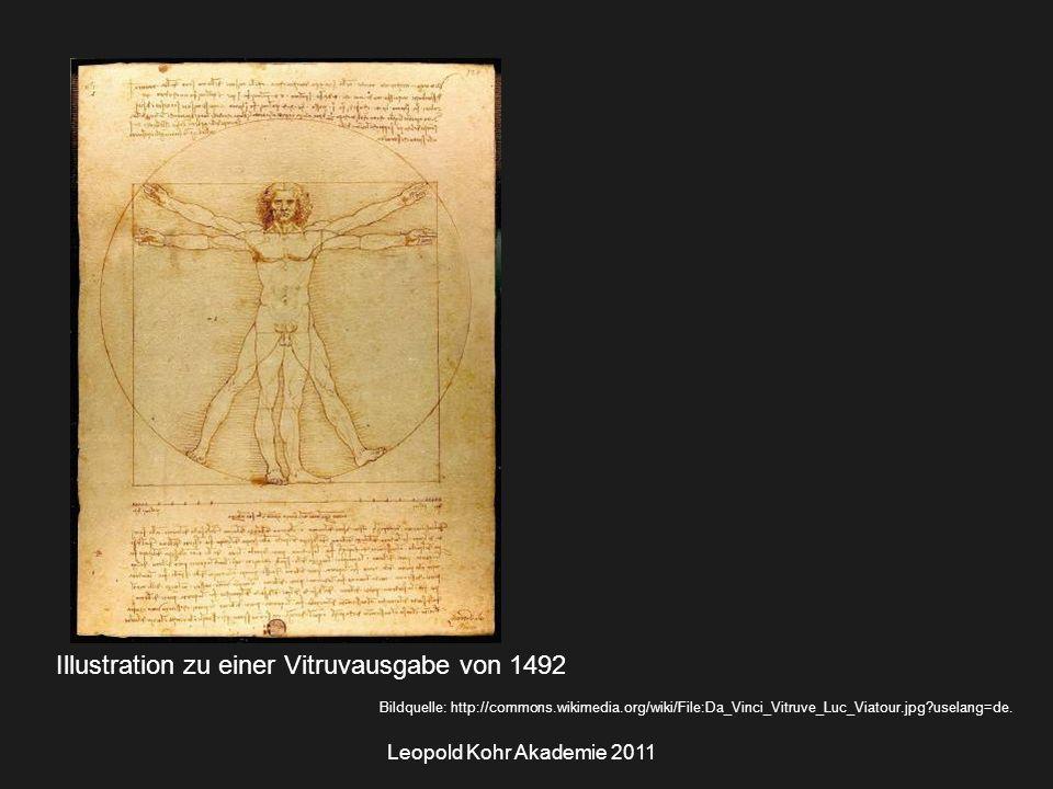 Leopold Kohr Akademie 2011 Illustration zu einer Vitruvausgabe von 1492 Bildquelle: http://commons.wikimedia.org/wiki/File:Da_Vinci_Vitruve_Luc_Viatour.jpg uselang=de.