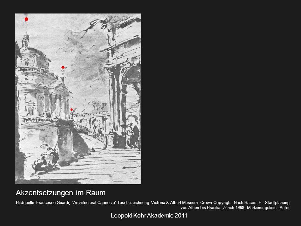 Leopold Kohr Akademie 2011 Akzentsetzungen im Raum Bildquelle: Francesco Guardi, Architectural Capriccio Tuschezeichnung Victoria & Albert Museum.