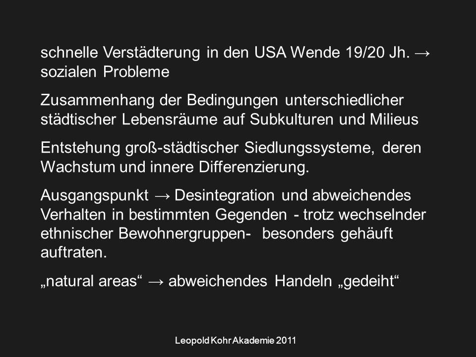Leopold Kohr Akademie 2011 schnelle Verstädterung in den USA Wende 19/20 Jh.