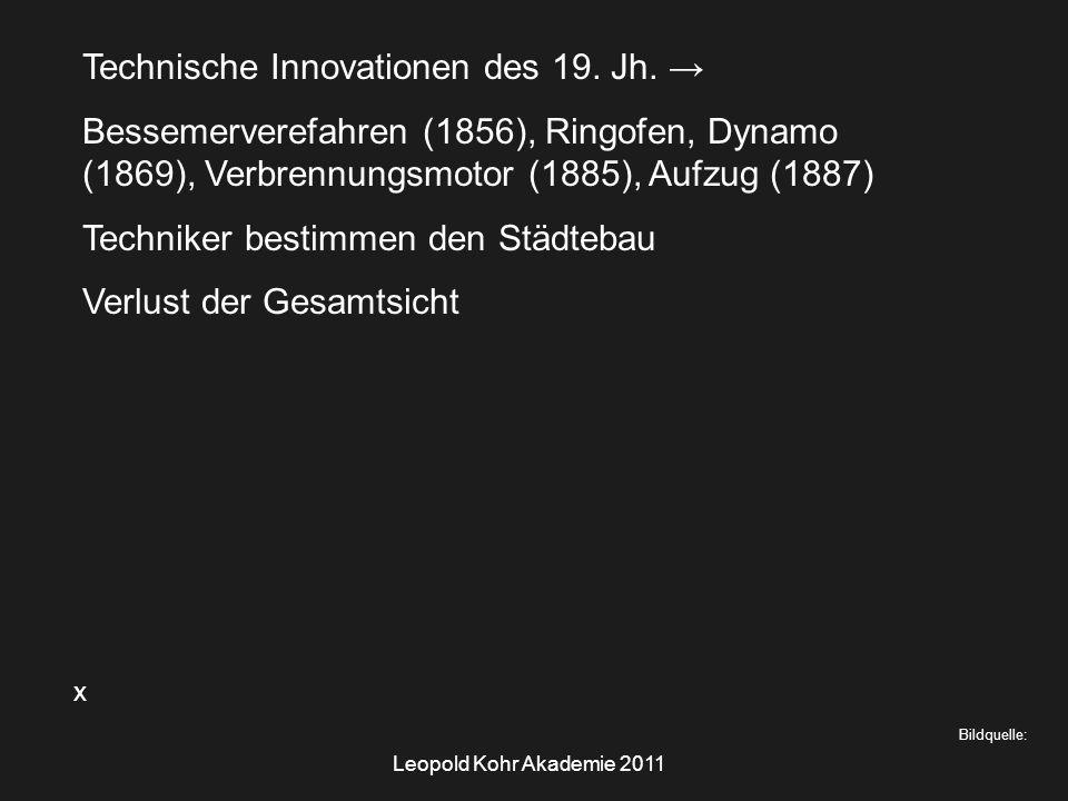 Leopold Kohr Akademie 2011 x Bildquelle: Technische Innovationen des 19.
