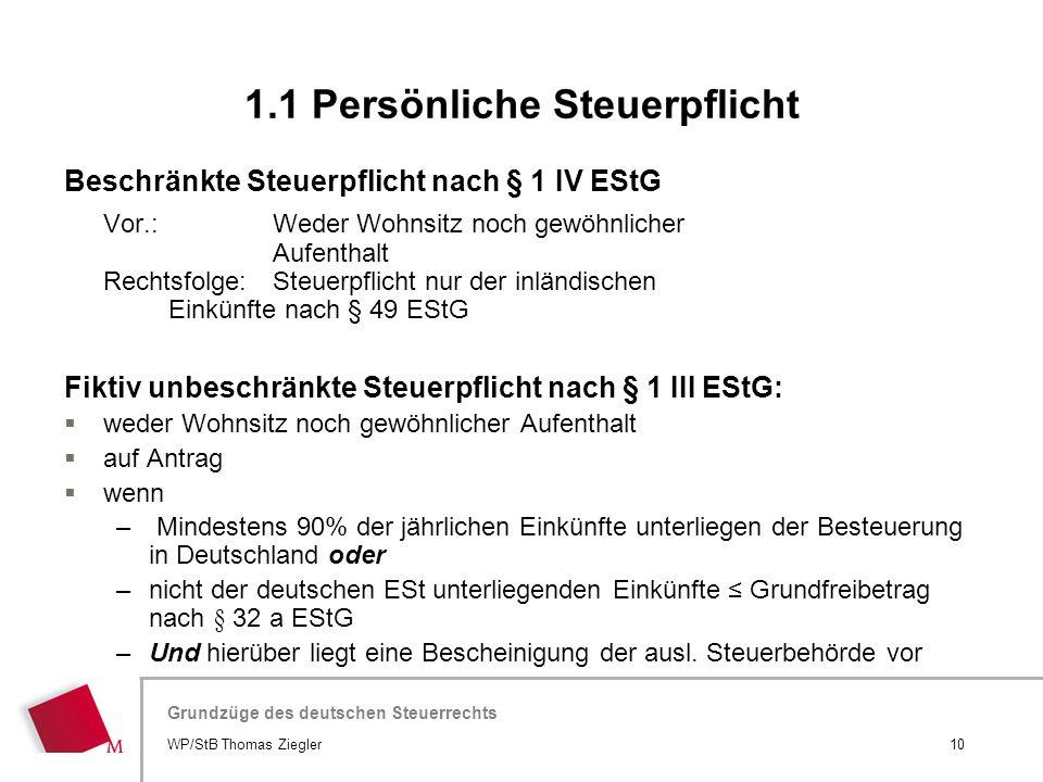 Hier wird der Titel der Präsentation wiederholt (Ansicht >Folienmaster) Grundzüge des deutschen Steuerrechts Beschränkte Steuerpflicht nach § 1 IV ESt