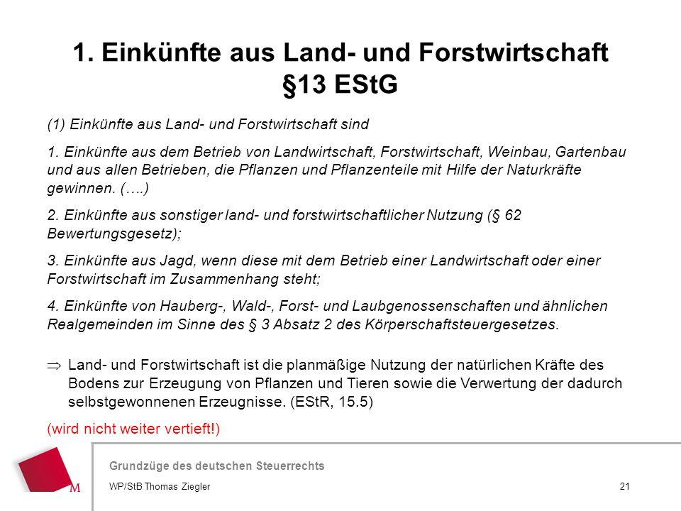 Hier wird der Titel der Präsentation wiederholt (Ansicht >Folienmaster) Grundzüge des deutschen Steuerrechts (1) Einkünfte aus Land- und Forstwirtscha