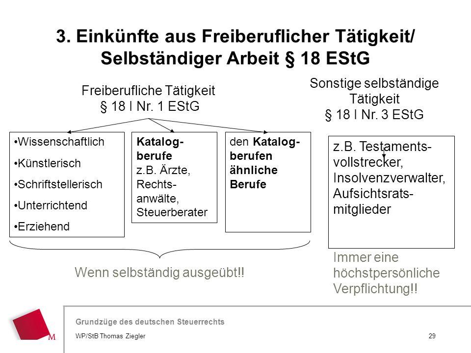 Hier wird der Titel der Präsentation wiederholt (Ansicht >Folienmaster) Grundzüge des deutschen Steuerrechts Freiberufliche Tätigkeit § 18 I Nr. 1 ESt