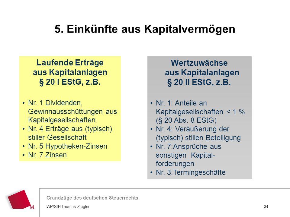 Hier wird der Titel der Präsentation wiederholt (Ansicht >Folienmaster) Grundzüge des deutschen Steuerrechts Laufende Erträge aus Kapitalanlagen § 20