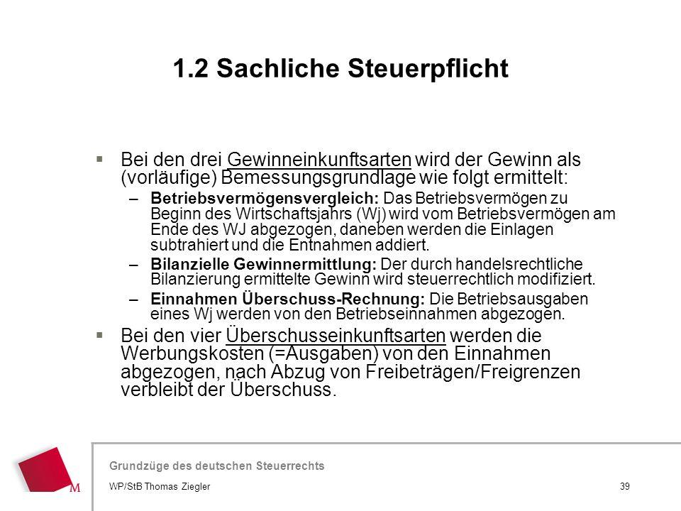 Hier wird der Titel der Präsentation wiederholt (Ansicht >Folienmaster) Grundzüge des deutschen Steuerrechts  Bei den drei Gewinneinkunftsarten wird