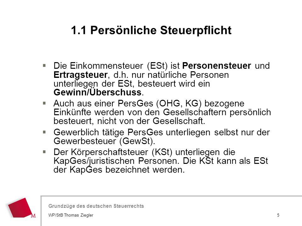 Hier wird der Titel der Präsentation wiederholt (Ansicht >Folienmaster) Grundzüge des deutschen Steuerrechts  Die Einkommensteuer (ESt) ist Personens