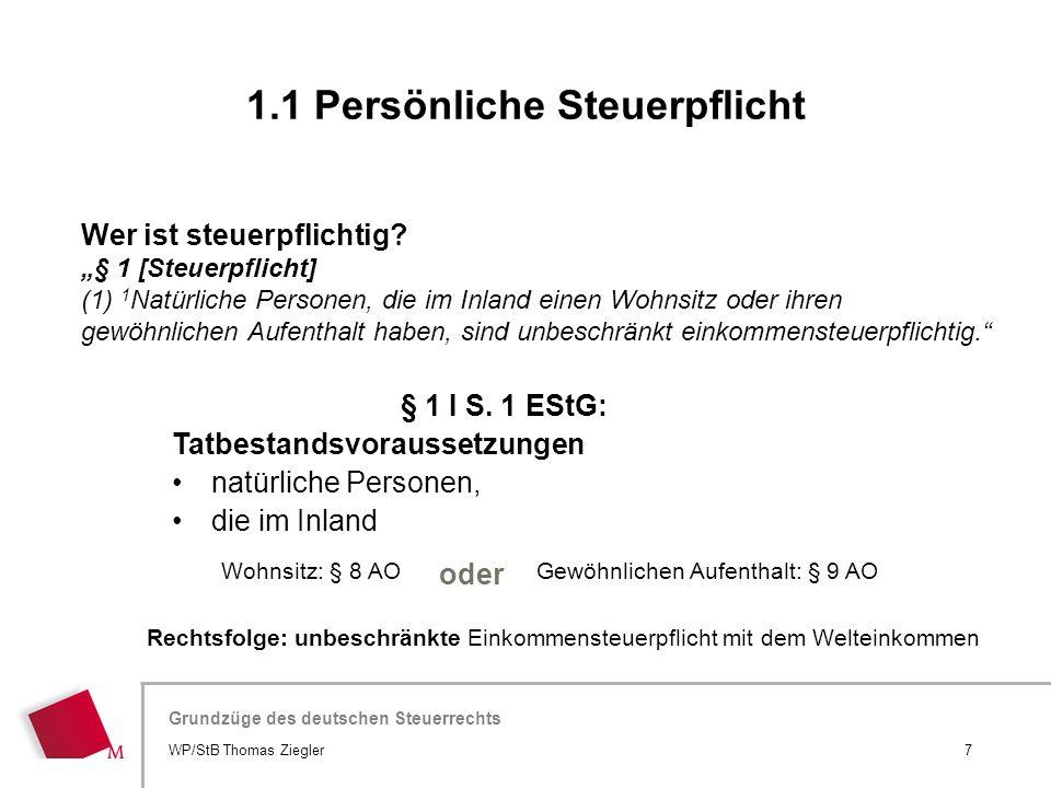"""Hier wird der Titel der Präsentation wiederholt (Ansicht >Folienmaster) Grundzüge des deutschen Steuerrechts Wer ist steuerpflichtig? """"§ 1 [Steuerpfli"""