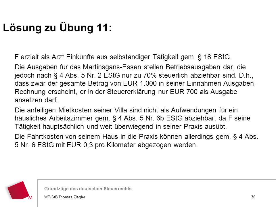 Hier wird der Titel der Präsentation wiederholt (Ansicht >Folienmaster) Grundzüge des deutschen Steuerrechts F erzielt als Arzt Einkünfte aus selbstän