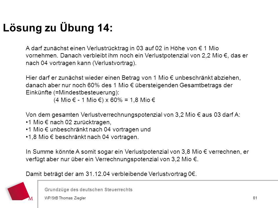 Hier wird der Titel der Präsentation wiederholt (Ansicht >Folienmaster) Grundzüge des deutschen Steuerrechts A darf zunächst einen Verlustrücktrag in