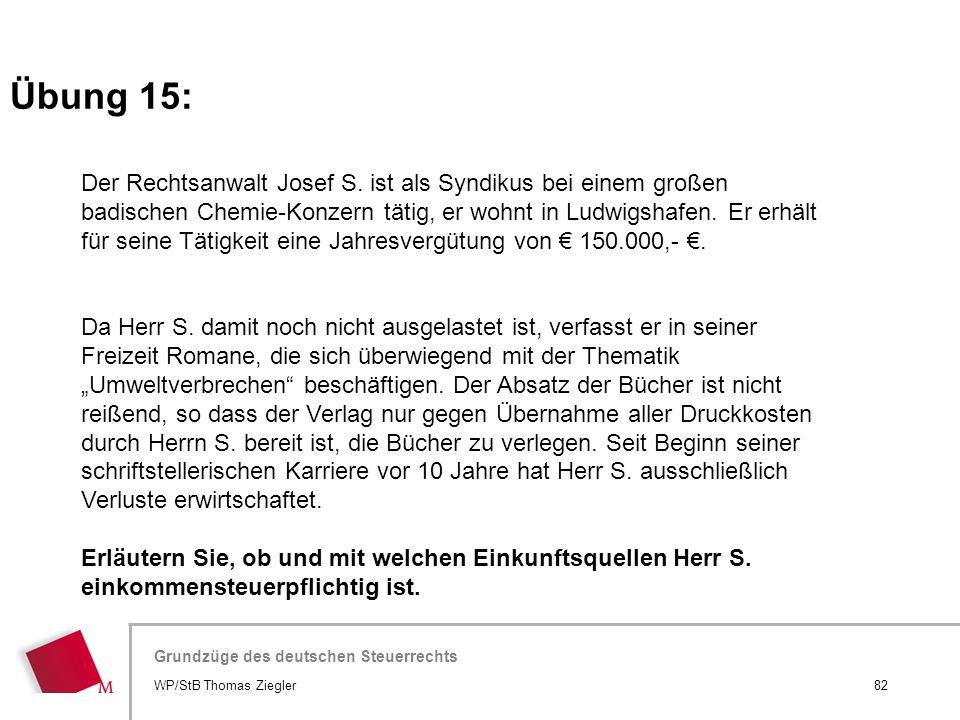 Hier wird der Titel der Präsentation wiederholt (Ansicht >Folienmaster) Grundzüge des deutschen Steuerrechts Der Rechtsanwalt Josef S. ist als Syndiku