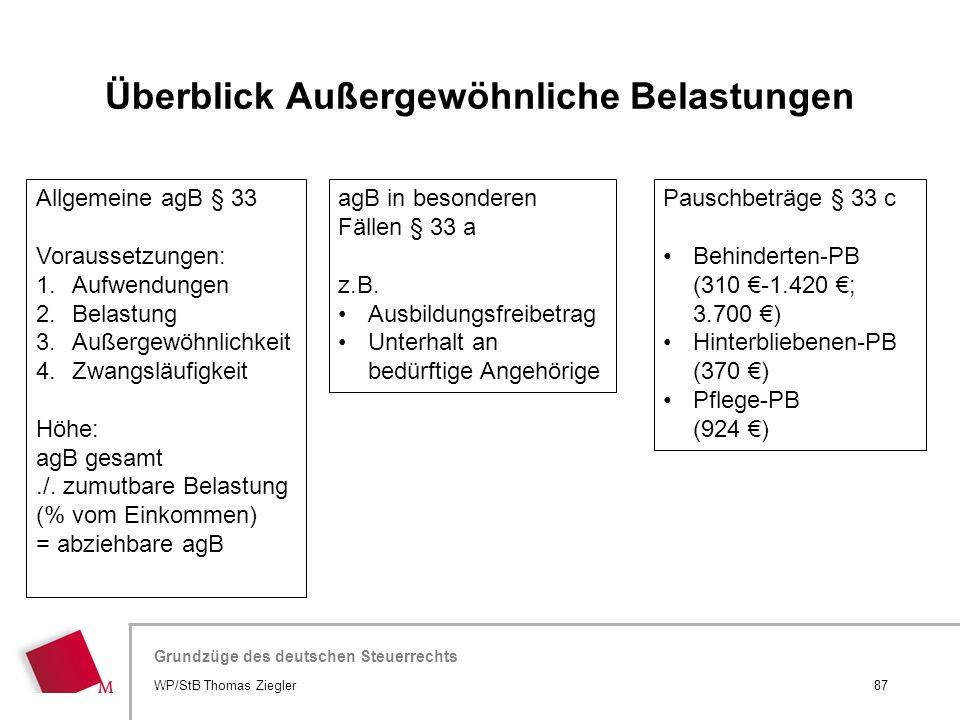 Hier wird der Titel der Präsentation wiederholt (Ansicht >Folienmaster) Grundzüge des deutschen Steuerrechts Allgemeine agB § 33 Voraussetzungen: 1.Au