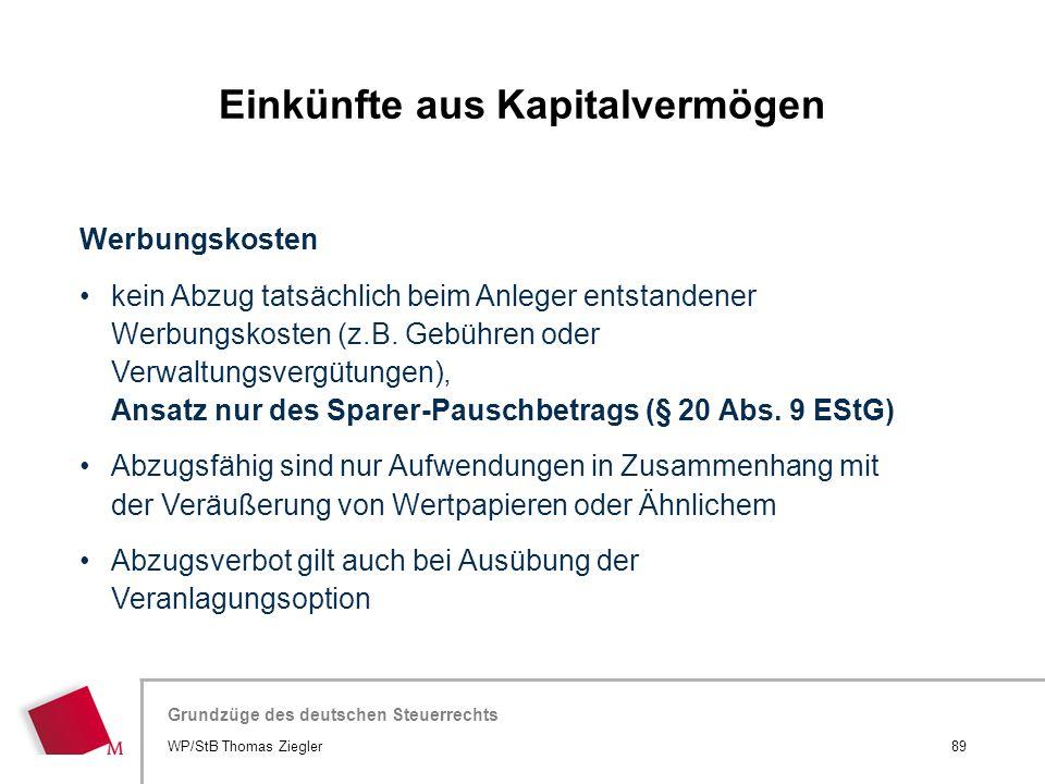 Hier wird der Titel der Präsentation wiederholt (Ansicht >Folienmaster) Grundzüge des deutschen Steuerrechts Werbungskosten kein Abzug tatsächlich bei