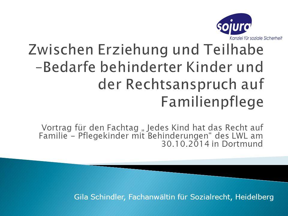 """Vortrag für den Fachtag """" Jedes Kind hat das Recht auf Familie - Pflegekinder mit Behinderungen des LWL am 30.10.2014 in Dortmund Gila Schindler, Fachanwältin für Sozialrecht, Heidelberg"""