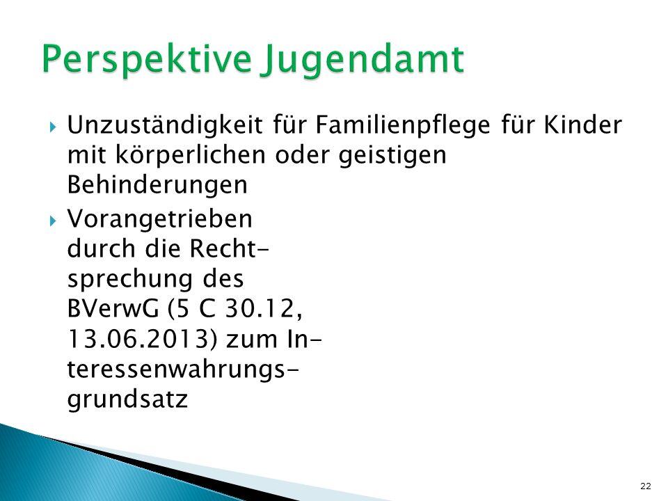  Unzuständigkeit für Familienpflege für Kinder mit körperlichen oder geistigen Behinderungen  Vorangetrieben durch die Recht- sprechung des BVerwG (5 C 30.12, 13.06.2013) zum In- teressenwahrungs- grundsatz 22