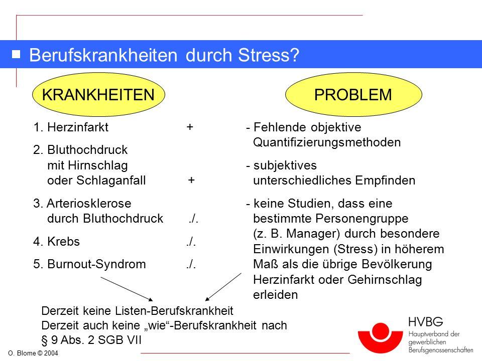 O. Blome © 2004 Berufskrankheiten durch Stress. KRANKHEITENPROBLEM 1.