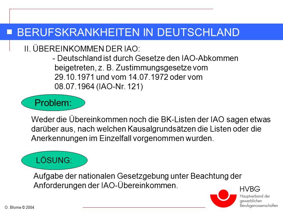 O. Blome © 2004 BERUFSKRANKHEITEN IN DEUTSCHLAND Problem: Weder die Übereinkommen noch die BK-Listen der IAO sagen etwas darüber aus, nach welchen Kau