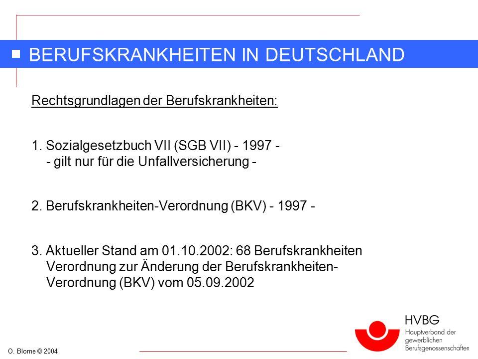 O. Blome © 2004 BERUFSKRANKHEITEN IN DEUTSCHLAND Rechtsgrundlagen der Berufskrankheiten: 1.