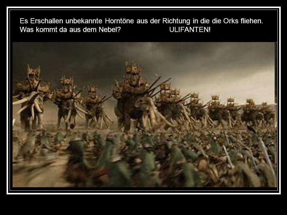 Es Erschallen unbekannte Horntöne aus der Richtung in die die Orks fliehen.