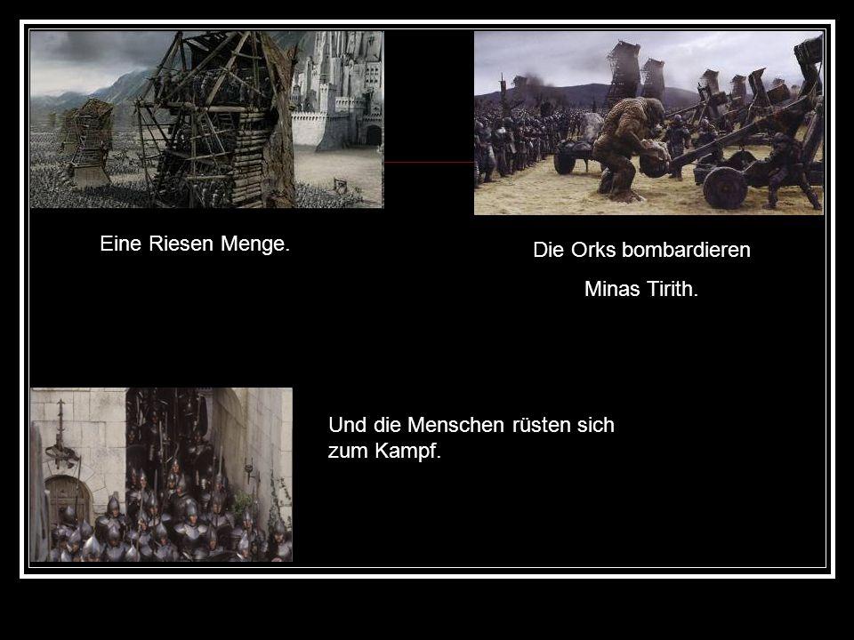 Eine Riesen Menge. Die Orks bombardieren Minas Tirith. Und die Menschen rüsten sich zum Kampf.