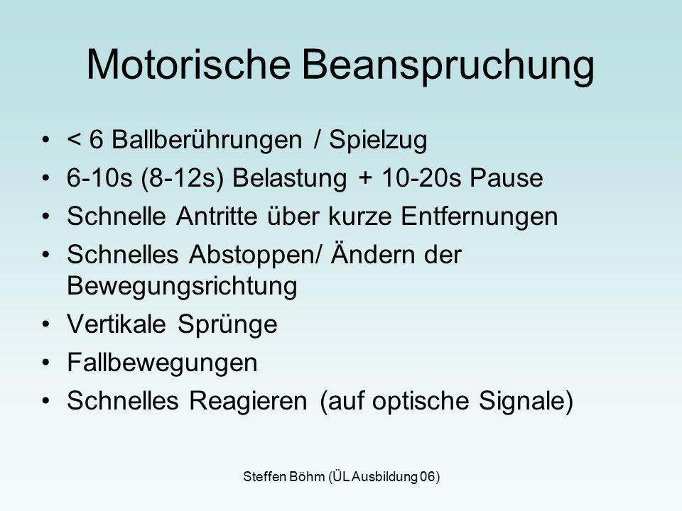 Steffen Böhm (ÜL Ausbildung 06) Motorische Beanspruchung < 6 Ballberührungen / Spielzug 6-10s (8-12s) Belastung + 10-20s Pause Schnelle Antritte über kurze Entfernungen Schnelles Abstoppen/ Ändern der Bewegungsrichtung Vertikale Sprünge Fallbewegungen Schnelles Reagieren (auf optische Signale)