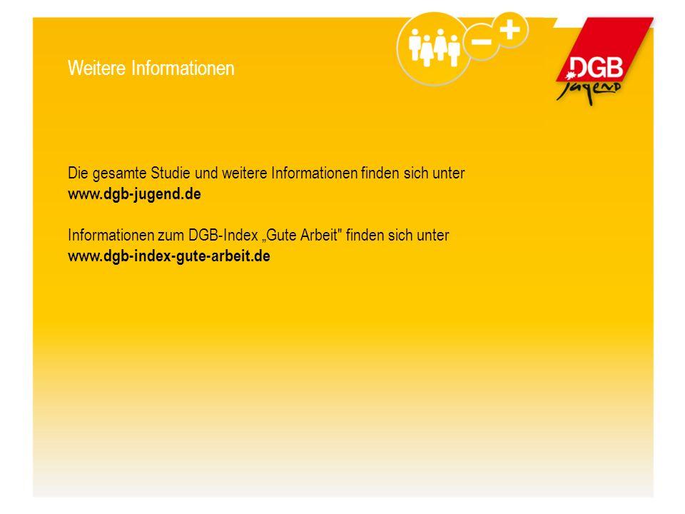 """Weitere Informationen Die gesamte Studie und weitere Informationen finden sich unter www.dgb-jugend.de Informationen zum DGB-Index """"Gute Arbeit finden sich unter www.dgb-index-gute-arbeit.de"""