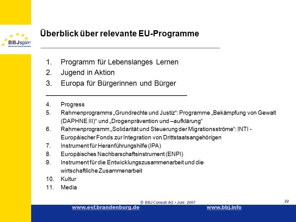 """www.esf.brandenburg.dewww.esf.brandenburg.de www.bbj.infowww.bbj.info © BBJ Consult AG Juni 2007 22 1.Programm für Lebenslanges Lernen 2.Jugend in Aktion 3.Europa für Bürgerinnen und Bürger ____________________________________________ 4.Progress 5.Rahmenprogramms """"Grundrechte und Justiz : Programme """"Bekämpfung von Gewalt (DAPHNE III) und """"Drogenprävention und –aufklärung 6.Rahmenprogramm """"Solidarität und Steuerung der Migrationsströme : INTI - Europäischer Fonds zur Integration von Drittstaatsangehörigen 7.Instrument für Heranführungshilfe (IPA) 8.Europäisches Nachbarschaftsinstrument (ENPI) 9.Instrument für die Entwicklungszusammenarbeit und die wirtschaftliche Zusammenarbeit 10.Kultur 11.Media Überblick über relevante EU-Programme"""