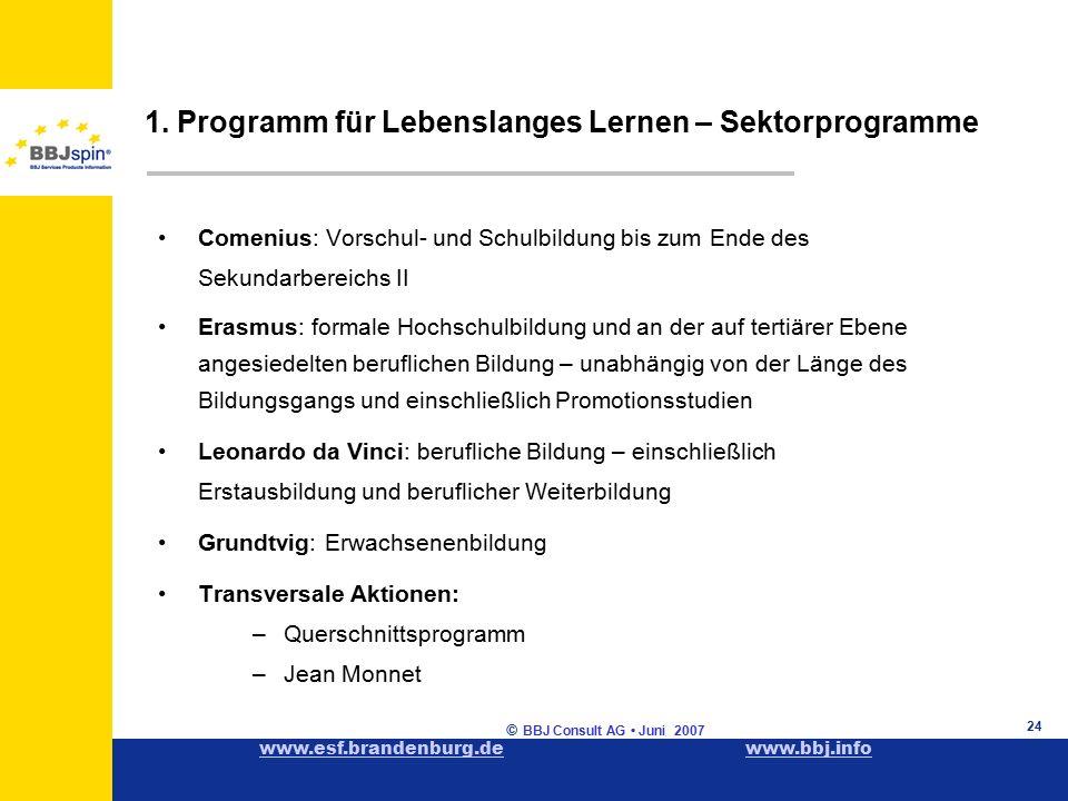 www.esf.brandenburg.dewww.esf.brandenburg.de www.bbj.infowww.bbj.info © BBJ Consult AG Juni 2007 24 1.