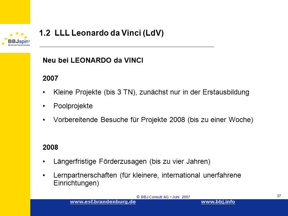 www.esf.brandenburg.dewww.esf.brandenburg.de www.bbj.infowww.bbj.info © BBJ Consult AG Juni 2007 37 1.2 LLL Leonardo da Vinci (LdV) Neu bei LEONARDO da VINCI 2007 Kleine Projekte (bis 3 TN), zunächst nur in der Erstausbildung Poolprojekte Vorbereitende Besuche für Projekte 2008 (bis zu einer Woche) 2008 Längerfristige Förderzusagen (bis zu vier Jahren) Lernpartnerschaften (für kleinere, international unerfahrene Einrichtungen)
