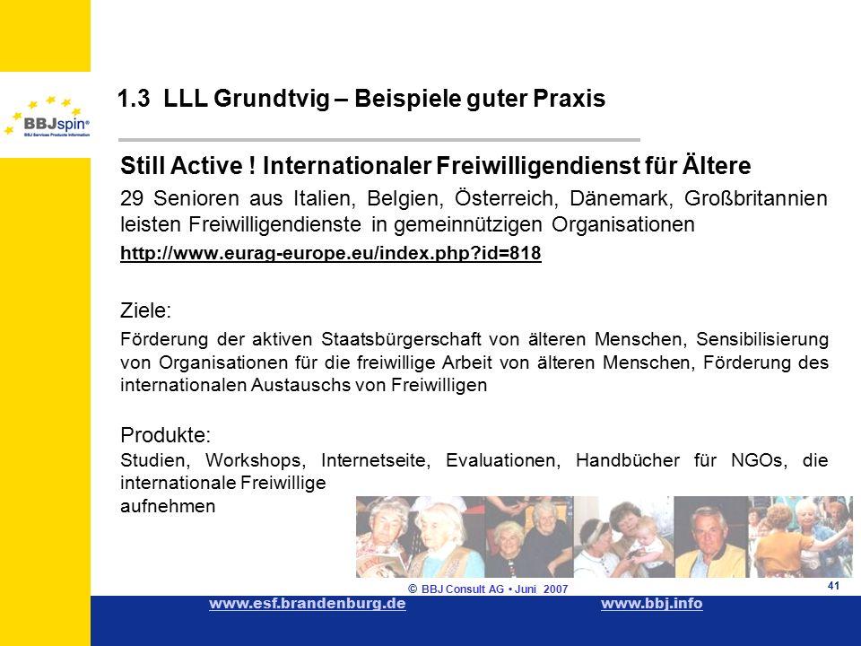www.esf.brandenburg.dewww.esf.brandenburg.de www.bbj.infowww.bbj.info © BBJ Consult AG Juni 2007 41 1.3 LLL Grundtvig – Beispiele guter Praxis Still Active .
