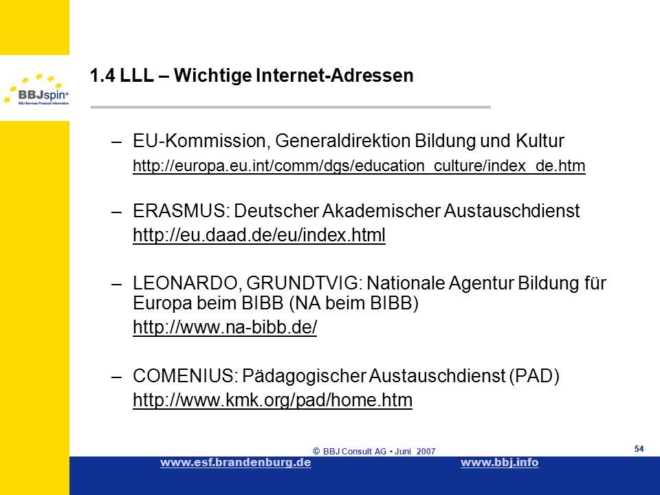 www.esf.brandenburg.dewww.esf.brandenburg.de www.bbj.infowww.bbj.info © BBJ Consult AG Juni 2007 54 1.4 LLL – Wichtige Internet-Adressen –EU-Kommission, Generaldirektion Bildung und Kultur http://europa.eu.int/comm/dgs/education_culture/index_de.htm –ERASMUS: Deutscher Akademischer Austauschdienst http://eu.daad.de/eu/index.html –LEONARDO, GRUNDTVIG: Nationale Agentur Bildung für Europa beim BIBB (NA beim BIBB) http://www.na-bibb.de/ –COMENIUS: Pädagogischer Austauschdienst (PAD) http://www.kmk.org/pad/home.htm 54