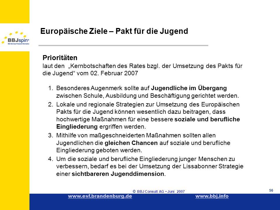 """www.esf.brandenburg.dewww.esf.brandenburg.de www.bbj.infowww.bbj.info © BBJ Consult AG Juni 2007 56 Europäische Ziele – Pakt für die Jugend Prioritäten laut den """"Kernbotschaften des Rates bzgl."""