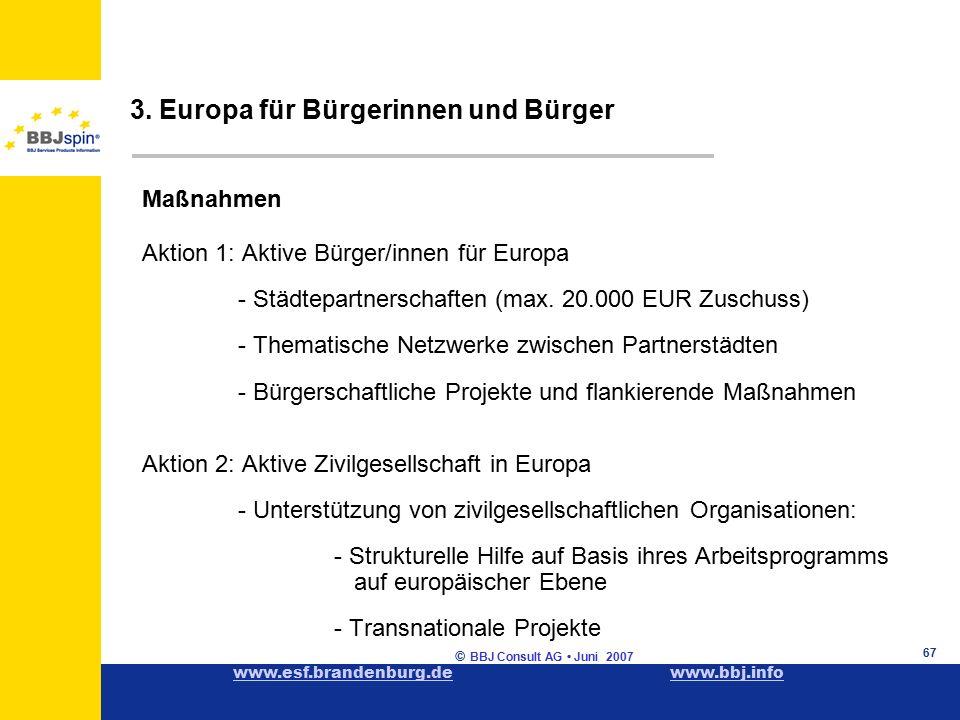 www.esf.brandenburg.dewww.esf.brandenburg.de www.bbj.infowww.bbj.info © BBJ Consult AG Juni 2007 67 Maßnahmen Aktion 1: Aktive Bürger/innen für Europa - Städtepartnerschaften (max.