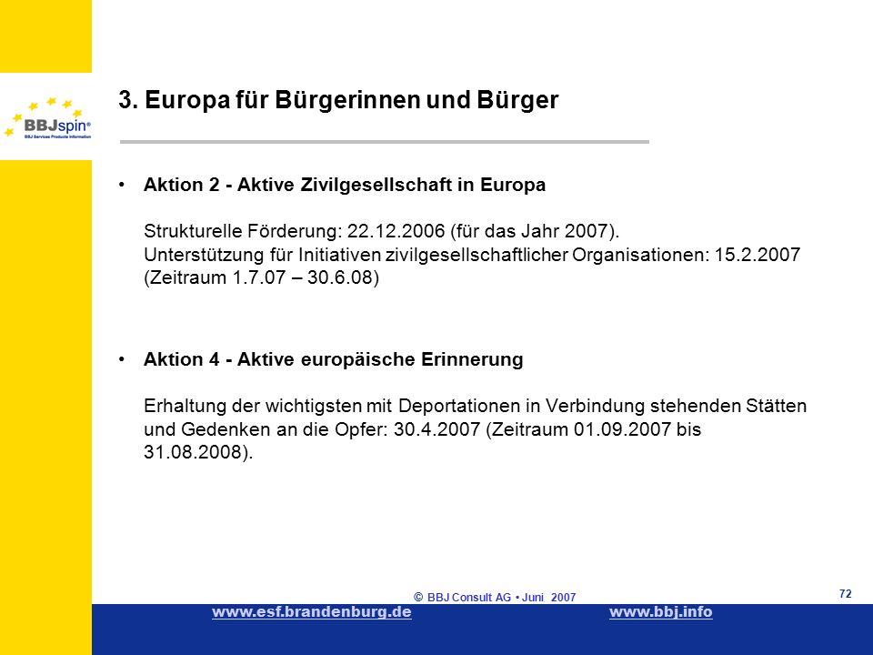 www.esf.brandenburg.dewww.esf.brandenburg.de www.bbj.infowww.bbj.info © BBJ Consult AG Juni 2007 72 Aktion 2 - Aktive Zivilgesellschaft in Europa Strukturelle Förderung: 22.12.2006 (für das Jahr 2007).