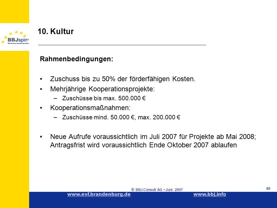 www.esf.brandenburg.dewww.esf.brandenburg.de www.bbj.infowww.bbj.info © BBJ Consult AG Juni 2007 89 Rahmenbedingungen: Zuschuss bis zu 50% der förderfähigen Kosten.