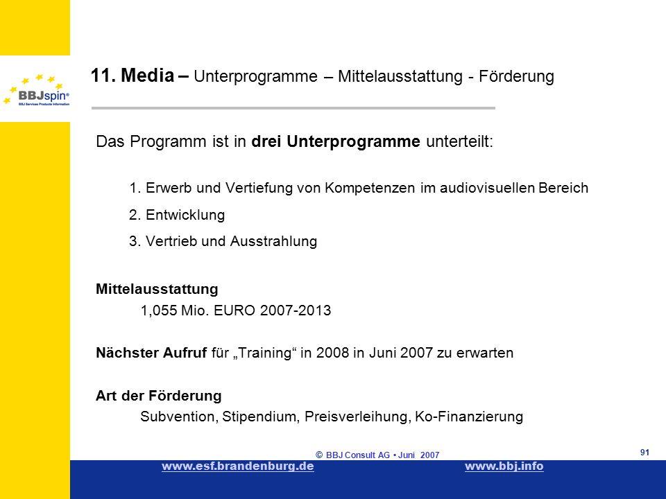 www.esf.brandenburg.dewww.esf.brandenburg.de www.bbj.infowww.bbj.info © BBJ Consult AG Juni 2007 91 Das Programm ist in drei Unterprogramme unterteilt: 1.