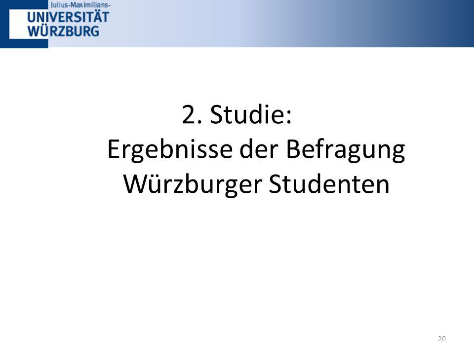 2. Studie: Ergebnisse der Befragung Würzburger Studenten 20