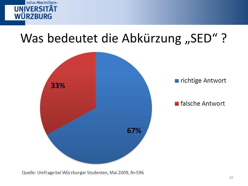 """Was bedeutet die Abkürzung """"SED 26 Quelle: Umfrage bei Würzburger Studenten, Mai 2009, N=596"""