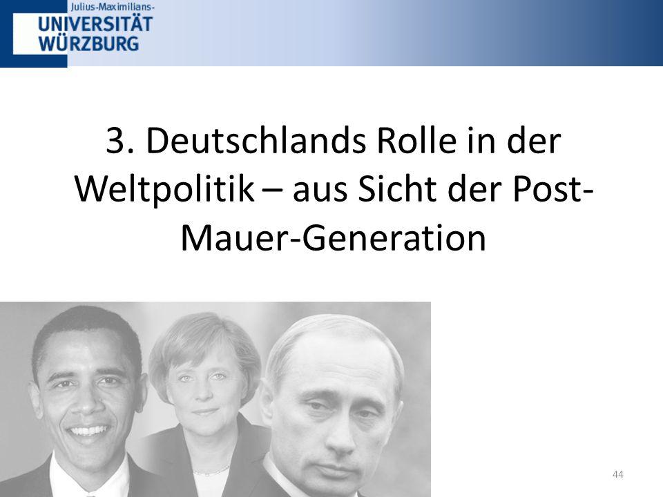 3. Deutschlands Rolle in der Weltpolitik – aus Sicht der Post- Mauer-Generation 44