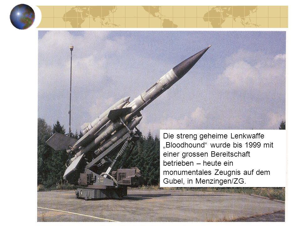 """Die streng geheime Lenkwaffe """"Bloodhound wurde bis 1999 mit einer grossen Bereitschaft betrieben – heute ein monumentales Zeugnis auf dem Gubel, in Menzingen/ZG."""
