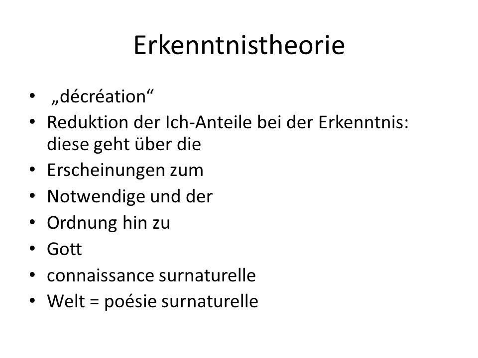 """Erkenntnistheorie """"décréation"""" Reduktion der Ich-Anteile bei der Erkenntnis: diese geht über die Erscheinungen zum Notwendige und der Ordnung hin zu G"""