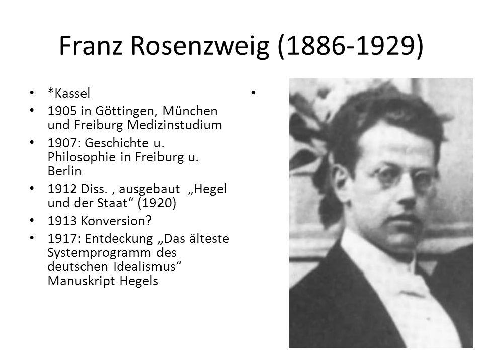 Franz Rosenzweig (1886-1929) *Kassel 1905 in Göttingen, München und Freiburg Medizinstudium 1907: Geschichte u. Philosophie in Freiburg u. Berlin 1912