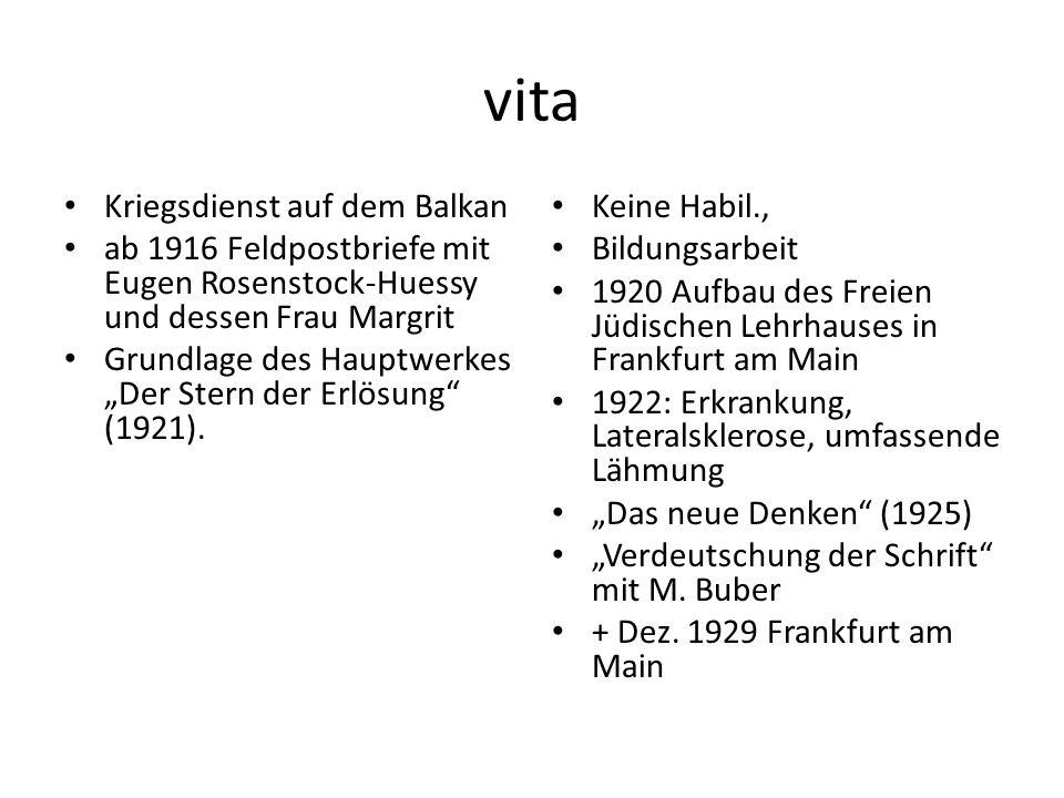 """vita Kriegsdienst auf dem Balkan ab 1916 Feldpostbriefe mit Eugen Rosenstock-Huessy und dessen Frau Margrit Grundlage des Hauptwerkes """"Der Stern der Erlösung (1921)."""